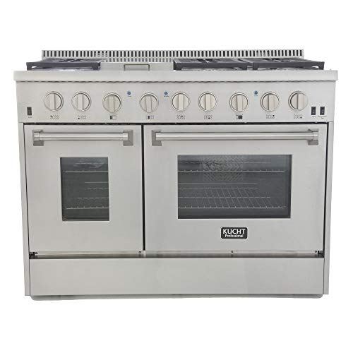 Kucht KRD486F KRD486F-S Professional 48″ 6.7 cu. ft. Dual Fuel Range for Natural Gas, Stainless-Steel, Classic Silver