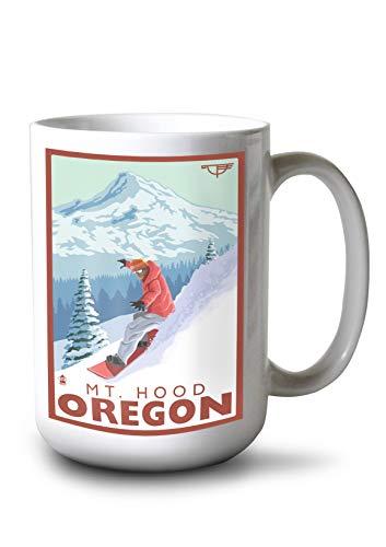 Lantern Press Snowboard Mt. Hood, Oregon - Timberline Lodge (15oz White Ceramic Mug)