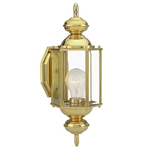 Design House 501692 Augusta 1 Light Indoor/Outdoor Wall Light, Solid Brass