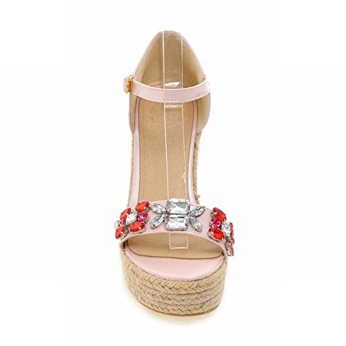 Carolbar Femmes Boucle Douce Mode Robe Plate-forme Strass Ouvert-orteils Coins Sandales Rose