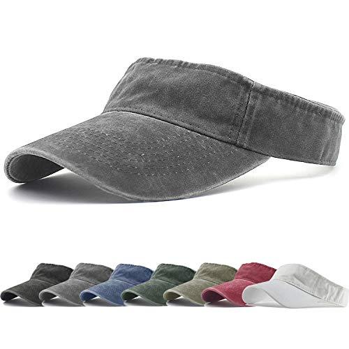 (HH HOFNEN Sports Sun Visor Hats Twill Cotton Ball Caps for Men Women Adults Kids (#1 Gray N))
