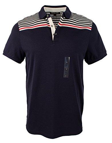 Michael Kors Men's Striped Cotton Short Sleeve Polo Shirt-M-L