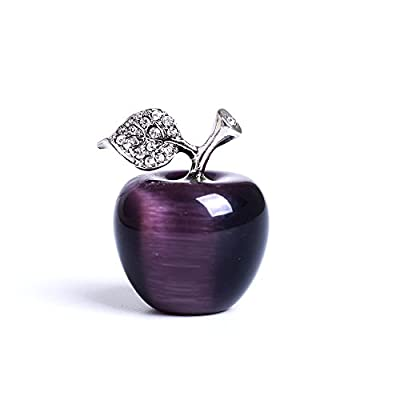HongJinTian Natural Purple Tigereye Crystal &Gemstone Carved Apple Figurine Statue Handcarved Crystal Apple Ornament AVG.1.18Inch