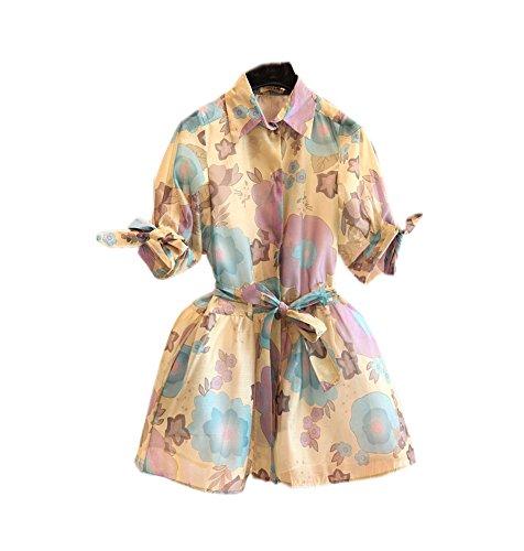 Vita Vestito Abito Camicia Medio Manicotto Mezzo Floreale Vintage Di Cravatta UwBqXg