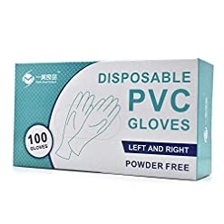 Vinyl Disposable Gloves PVC Gloves Medical Glove Clear | Powder Free | Latex Free | Patient Examination Gloves Disposable Medium 100 Pcs