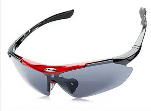 New Men Fashion Cycling Bicycle Road Mountain Bike Outdoor Sports Sun Glasses Eyewear Goggle Sunglasses UV400 (Red 1)