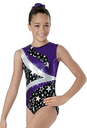 Gymnastics Metallic Leotard Hologram Star Print Eggplant Purple Adult Medium (Eggplant Stars)