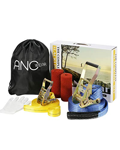 ANCwear Slackline Kit with Training Line Tree Protectors Ratchet Protectors Arm Trainer Set, Complete Balance Rope Kit - Kids Safe and Secure Slacklines 50 ft Easy Set up, for Family Adults Children