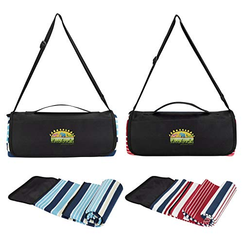 Good Value Shoulder Strap Picnic Blanket Navy/Blue 144 Pack