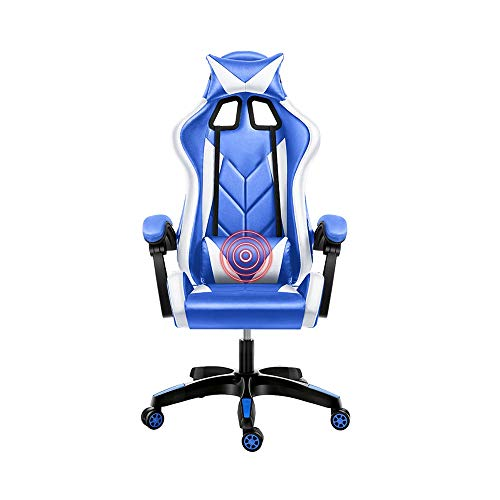 Bseack Video Game Chair, Reclining High Back Computer Chair Elevating Rotary Linked Handrail Ergonomics Office Chair with Headrest and Massage Lumbar Pillow (Color : Blue White)
