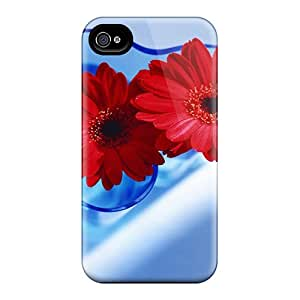 Tpu Case Cover Compatible For Iphone 4/4s/ Hot Case/ Red Gerberas In Blue Vase