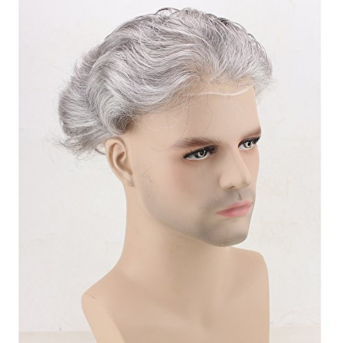 Dreambeauty Men's Toupee 10×8 inch Human Hair Thin Skin Hairpiece Hair Replacement System Monofilament Net Base for Men (20% #2 Mix 80% silver hair) by Dream Beauty (Image #3)