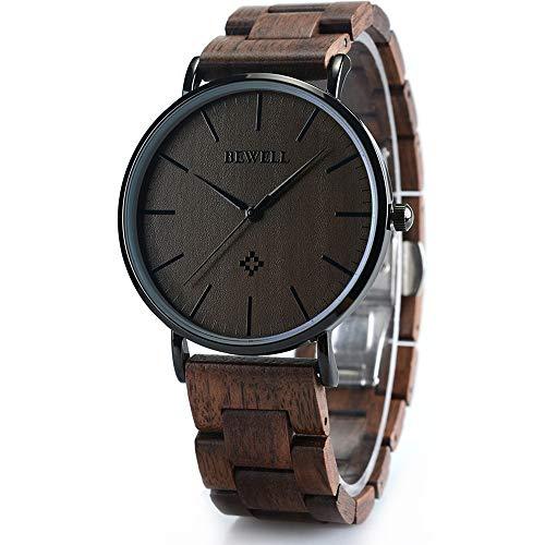 BEWELL Wooden Watches for Men/Women Slim Analog Quartz Minimalist Couple Wrist Watch W163A (Men-Black)