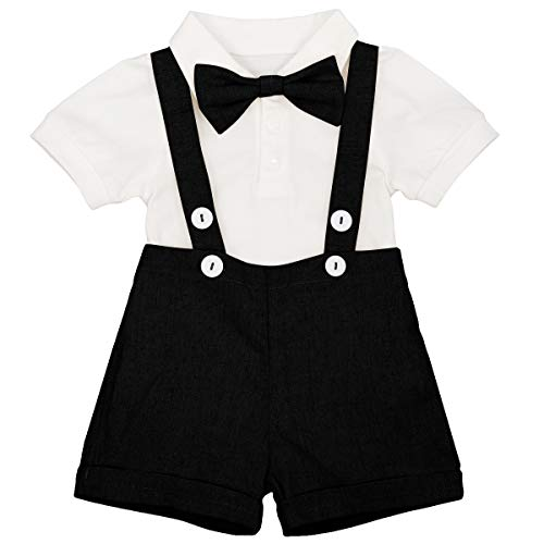 Newborn Baby Boys Formal Suit Gentleman Tuxedo Outfit Bow tie Romper Jumpsuit Overalls Suspenders Cotton Birthday Cake Smash Short Sleeve T Shirt Wedding Christening Bib Pants Clothes Black 12-18 M