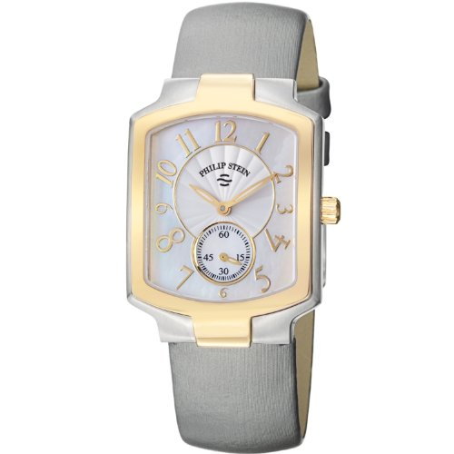 Philip Stein Classic Tank Ladies Two Tone Grey Satin Strap Watch 21TG-FW-IPL