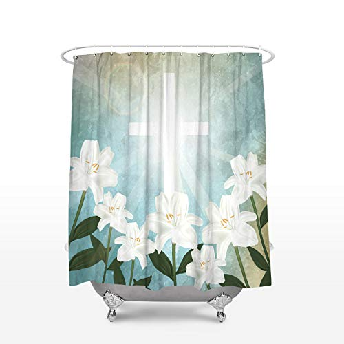 Holy Light Crucifix and White Lily Flower Shower Curtain Durable Waterproof Polyester Fabric Bath Curtains for Bathtubs Bathroom with Hooks 72