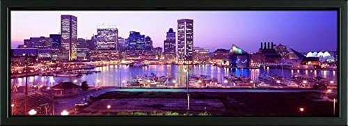 Easy Art Prints Panoramic Images's 'Inner Harbor, Baltimore, Maryland, USA' Premium Framed Canvas Art - 24