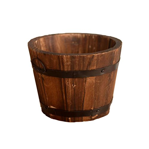 Amgate Rustic Wooden Plant Pot Flower Bucket