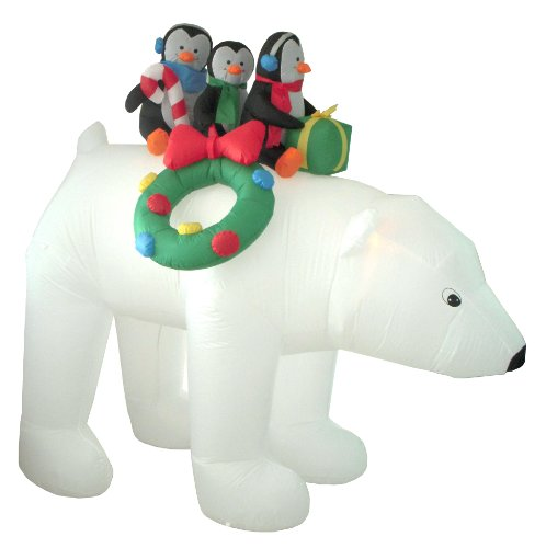 8 Foot Christmas Inflatable 3 Penguins on Polar Bear Outdoor Yard Decoration