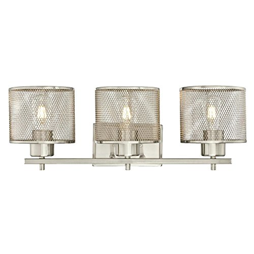 Shade Three Light Big (Westinghouse 6327600 Morrison Three-Light Indoor Wall Fixture, Brushed Nickel Finish with Mesh Shades)