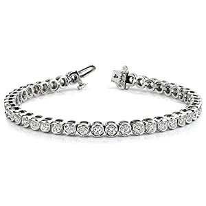 Platinum Diamond Round Brilliant Channel Set Tennis Bracelet (3.87ctw.) - Size 8.5