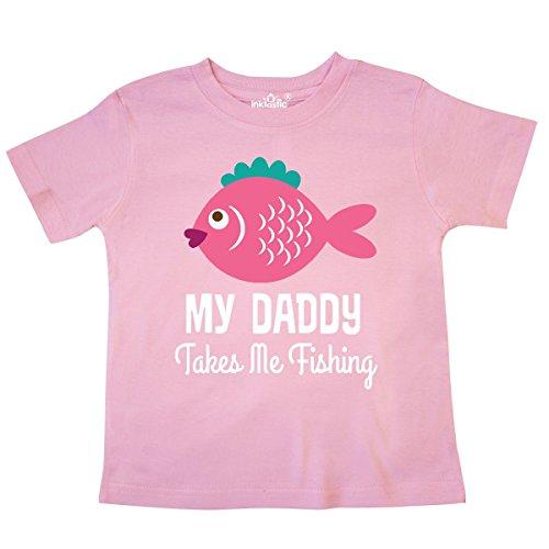 inktastic - My Daddy Takes Me Fishing Girls Toddler T-Shirt 5/6 Pink 289d5