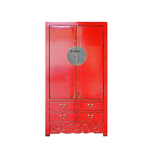 Chinese Distressed Red Tall Wedding Armoire Wardrobe TV Cabinet Acs4893 from A Large Cabinet