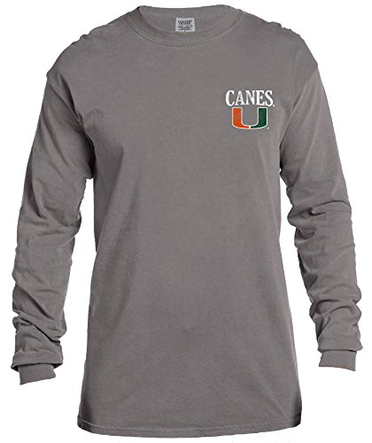 (NCAA Miami Hurricanes Vintage Poster Long Sleeve Comfort Color Tee, Small,Grey )