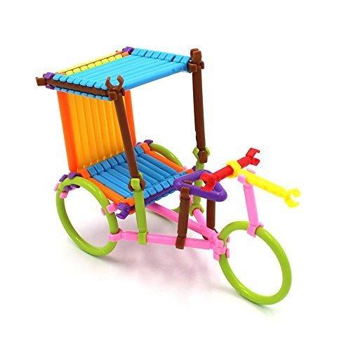 [205Pcs bars 8 colors different shape Creative Toys Building Blocks 3D Puzzle] (Creative Plastic Bricks)