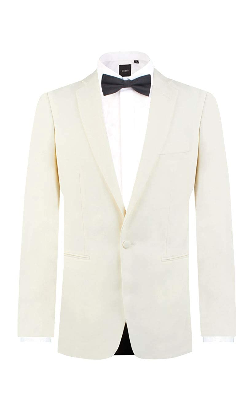 Dobell Mens White Tuxedo Dinner Jacket Regular Fit Notch Lapel