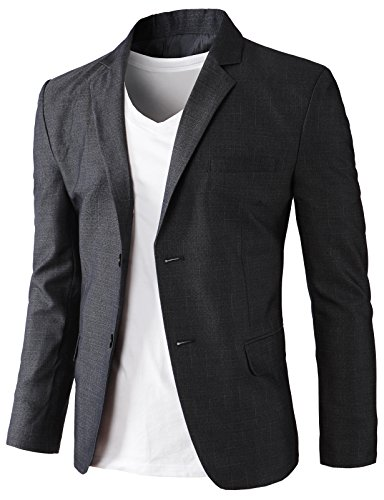 H2H Men's Casual Double-Breasted Jacket Slim Fit Blazer Charcoal US XL/Asia 3XK (KMOBL0125) by H2H (Image #1)