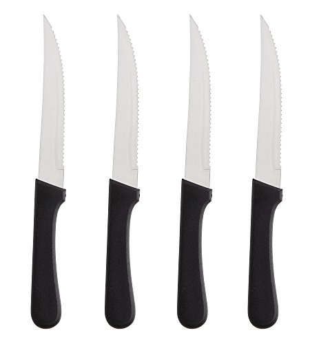 Steak Knives Serrated Set, Restaurant Quality, Stainless Steel, 4.25-Inch, Pointed Tip (4)