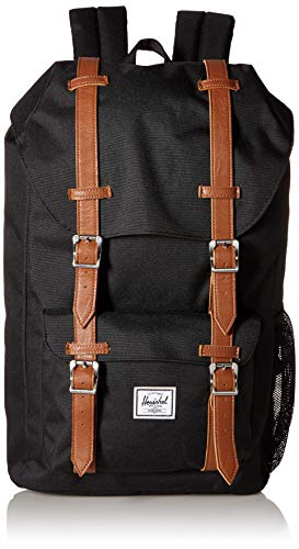 Herschel Kids' Little America Youth Children's Backpack, Black/Saddle Brown, One Size