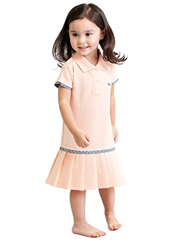 Toddler Girls' Light Orange Polo Dress - 100% Pique Polo Dress - Pleated Tennis A-line Dress 5T