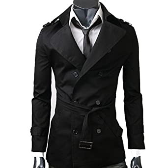 MENS CASUAL DOUBLE BREASTED TRENCH COAT SLIM FIT 1284: Amazon.co ...