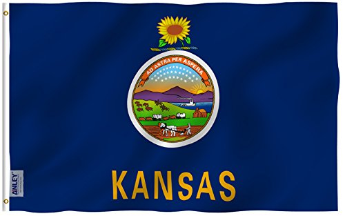 Anley |Fly Breeze| 3x5 Foot Kansas State Flag - Vivid Color