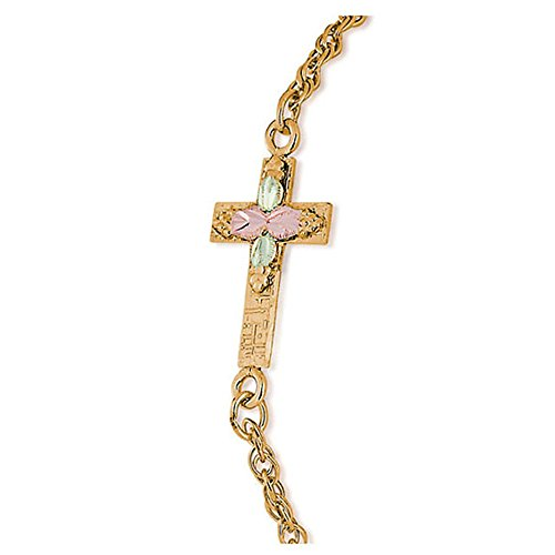 Landstroms 10k Black Hills Gold Cross Bracelet, 12k Gold Leaves, 12/20 Gold-Filled Chain - G LBR602