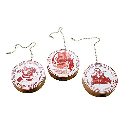 Set of 3 Red and White Santa Claus Round Wood Fan/Light Pull -