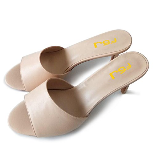 Beige FSJ Peep Mule Size Casual High Party Heels 15 Toe Women Sandals 4 Classic Shoes US Evening Stiletto rEHrqnT