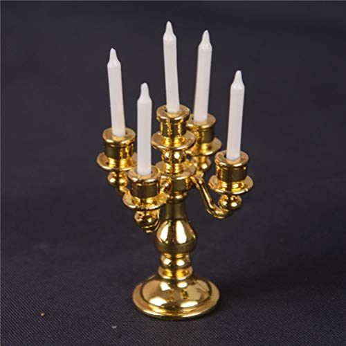 Agordo 1/12 Scale Miniature Gold Candelabra 5 White Candles Dollhouse Kitchen Toy OH