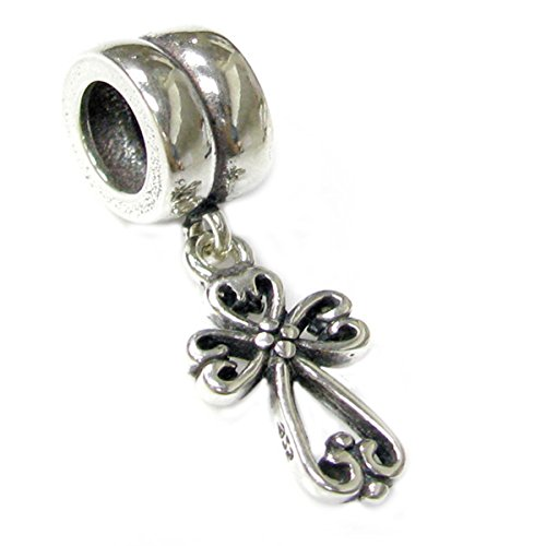 Sterling Silver Filigree Heart Cross Dangle Bead Charm For European Charm (Filigree Cross Charm)