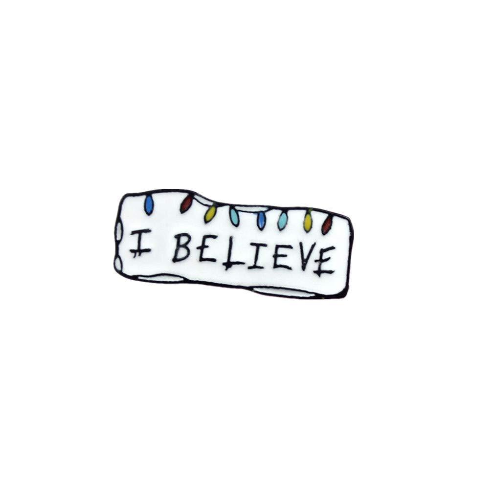 Broche unisexe je crois que lettres de mod/èle Ceci est une broche de signe positif lettres cr/éatives simples Broche Broche V/êtements Accessoires de d/écoration 2 utile et pratique
