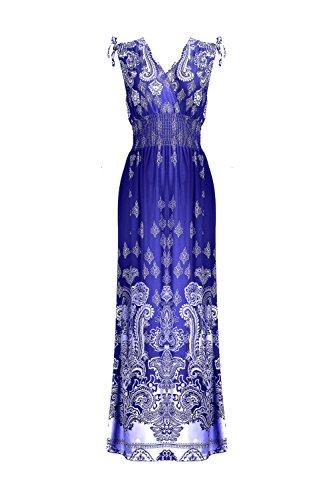 G2 Chic Women's Basic Casual Lounge Spring Summer Maxi Dress(DRS-MAX,BLUA13-XL)