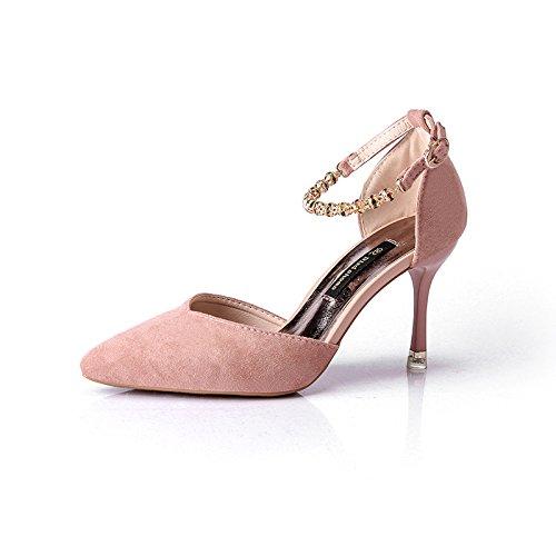 Satin Point Hauts Pour Avec Talons De 35 Rose Embout Polyvalentes Rainurage Fin Chaussures Et Bride OHFFw