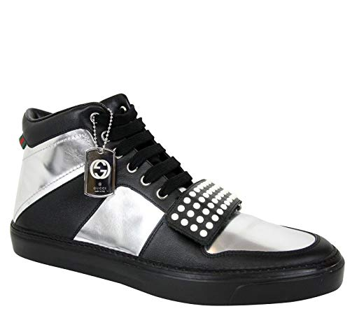 n Silver/Black Leather High top Sneaker 376194 1064 (9.5 G / 10 US) ()