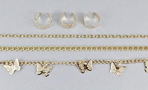 (Gold anklet toe ring set butterfly dangle adjustable ankle bracelet 6 pc set)