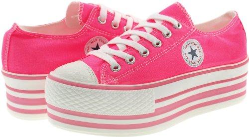 Maxstar US Low Shoes Pink top Hot Color Sneakers Canvas Platform 8 Fluorescent Womens xxPAn6