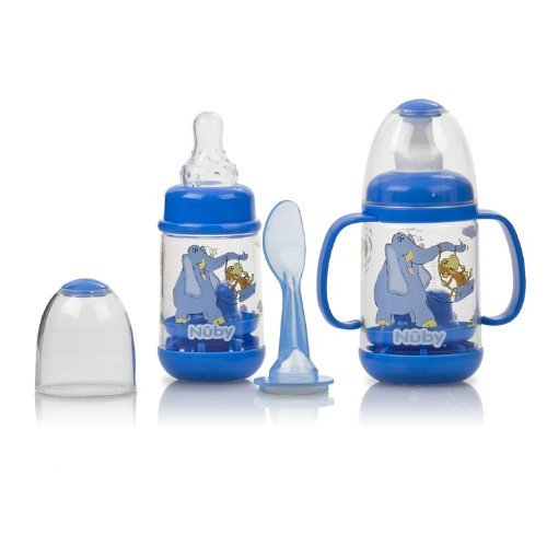 Nuby BPA FREE Infant Feeder Feeding Bottle Set, Blue