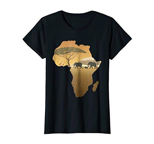 Womens Africa T-Shirt Elephant Map Dad South Animal Big Five Safari Small Black (Africa Map T-shirt)