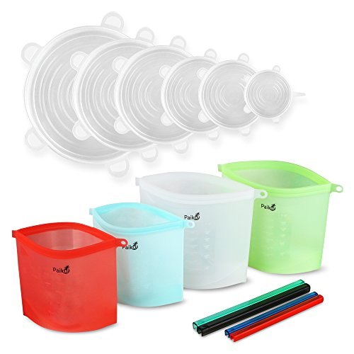 Reusable Silicone Food Storage Bags | Stretch Lid Covers for Bowls, Pots, Cups | BPA Free, Sealable, Airtight, Leak Proof | Microwave Safe | Reusable Food Storage Bags | Eco Friendly Bags Covers